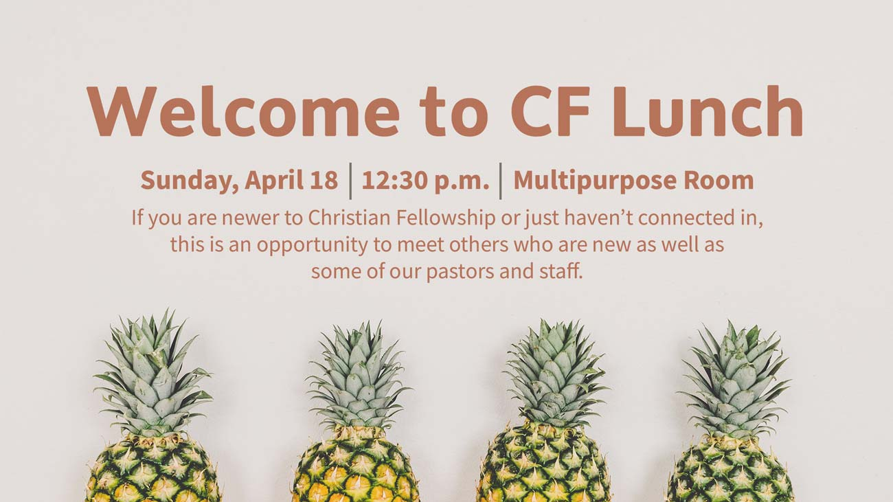 Welcome to CF Lunch April 2021