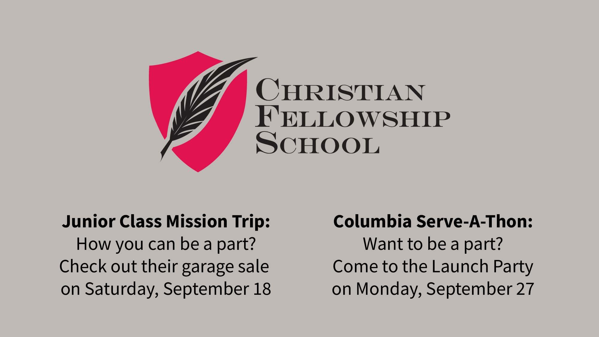 Christian Fellowship School Garage Sale and Serve A Thon