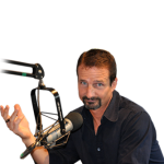 Photo of man with radio microphone in front of him